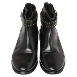 Balenciaga Black Leather Studded Ankle Strap Boots Size 39