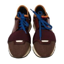 Balenciaga Burgundy Leather, Mesh and Neoprene Race Runner Sneakers Size 36