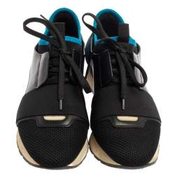 Balenciaga Black/Blue Leather Race Runner Sneaker Size 38