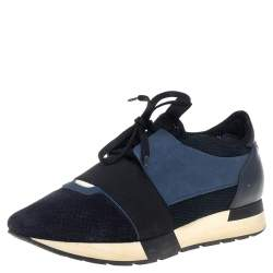 Balenciaga Blue Suede and Leather Race Runner Sneaker Size 39