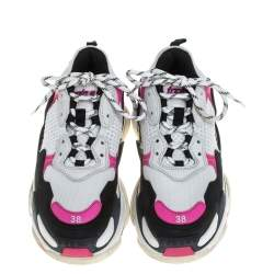 Balenciaga White/Pink Leather And Mesh Triple S Low Top Sneaker Size 38