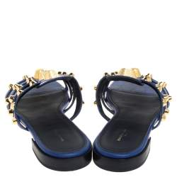 Balenciaga Blue Leather Arena Studded Strappy Flats Size 39
