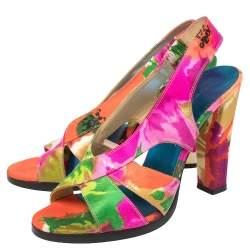 Balenciaga Multicolor Printed Satin Slingback Open Toe Sandals Size 39