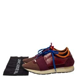 Balenciaga Multicolor Leather And Mesh Race Runner Sneakers Size 39