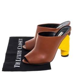 Balenciaga Brown Leather Wrapped Heel Slide Sandals Size 37