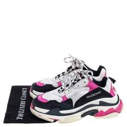 Balenciaga Multicolor Leather And  Mesh Triple S Platform Sneakers Size 41