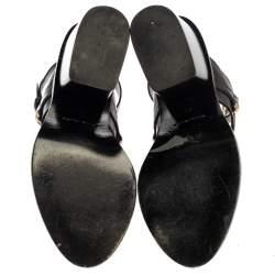 Balenciaga Black Leather Ankle Wrap Block Heel Sandals Size 39
