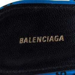 Balenciaga Blue Satin Logo All Over Slingback Sandals Size 39