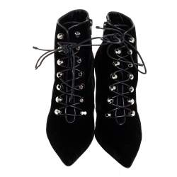 Balenciaga Black Velvet Pointed Toe Lace Up Ankle Boots Size 40