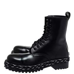 Balenciaga Black Leather Rope Stitched Combat Ankle Boots Size 41