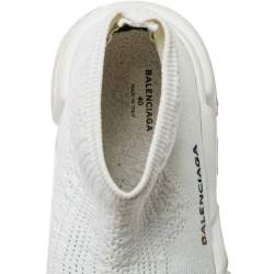 Balenciaga White Knit Fabric Speed Trainer Slip On Sneakers Size 40