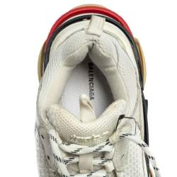 Balenciaga White Mesh And Leather Triple S Low Top Sneakers Size 36