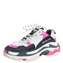 Balenciaga Multicolor Nubuck And Mesh Triple S Lace Up Sneaker Size 38