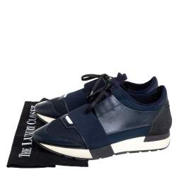 Balenciaga Navy Blue Mesh And Leather Race Runner Low Top Sneakers Size 38