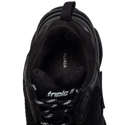 Balenciaga Black Leather And Mesh Triple S Low Top Sneakers Size 38