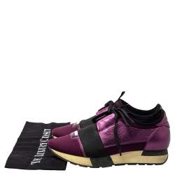 Balenciaga Purple Leather And Knit Fabric Race Runner Low Top Sneakers Size 37