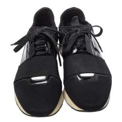 Balenciaga Black Patent Leather And Neoprene Race Runner Low Top Sneakers Size 38