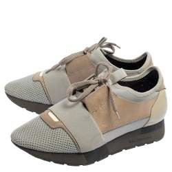 Balenciaga Grey/Brown Mesh And Suede Race Runner Low Top Sneakers Size 38