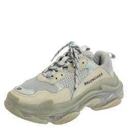 Balenciaga Blue Leather and Mesh Triple S Clear Sneakers Size 37