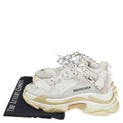 Balenciaga White/Grey Mesh And Leather Triple S Low Top Sneakers Size 38