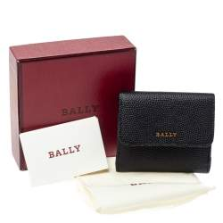 Bally Black Textured Leather Tri Fold Wallet