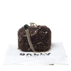 Bally Brown Sequins Embellished Clutch Bag