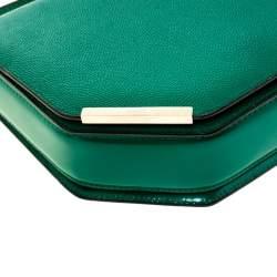 Bally Green Leather Corner Shoulder Bag