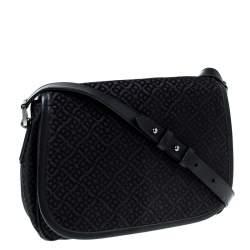 Bally Black Monogram Canvas and Leather Flap Shoulder Bag