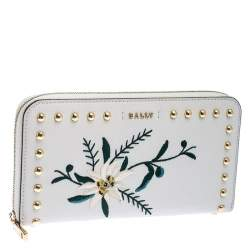 Bally Cream Leather Studded Embroidered Zip Around Wallet