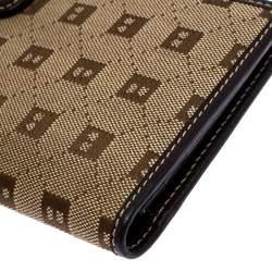 Bally Brown Canvas Damata Long Flap Wallet