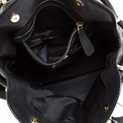 Bally Black Leather Drawstring Tote