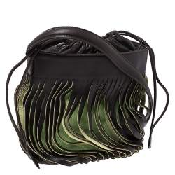Bally Brown/Green Leather Lazer Cut Drawstring Shoulder Bag