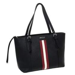 Bally Black Leather Striped Tote