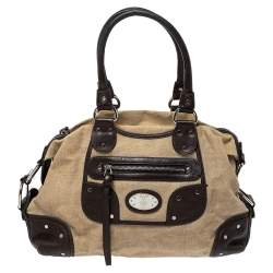 Bally Beige/Brown Canvas and Leather Zip Pocket Satchel