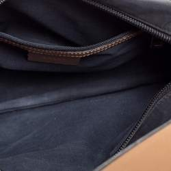 Bally Black/Beige Nylon and Leather Baguette Bag