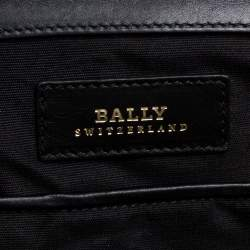 Bally Brown/Black Leather and Patent Leather Frame Top Handle Bag