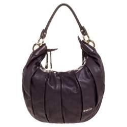 Bally Purple Pleated Leather Zip Hobo