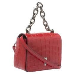 Bally Red Croc Embossed Leather Flap Shoulder Bag