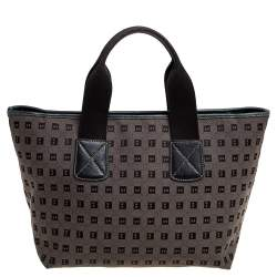 Bally Brown/Black Canvas and Leather Tote