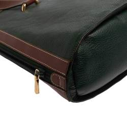 Bally Dark Green/Brown Leather Vintage Dome Satchel