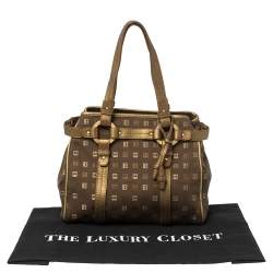 Bally Brown/Gold Canvas and Leather Satchel