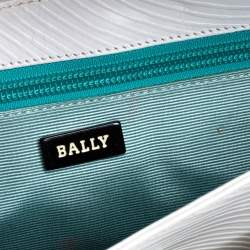 Bally White Textured Leather Double Pocket Flap Shoulder Bag
