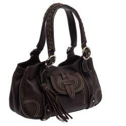 Bally Dark Brown Leather Tassel Shoulder Bag
