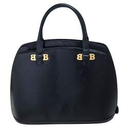 Bally Black leather Logo Top Handle Bag