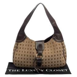 Bally Brown/Beige Monogram Canvas and  Leather Flap Hobo