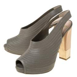 Bally Grey Leather Wooden and Metal Heel Slingback Sandals Size 38