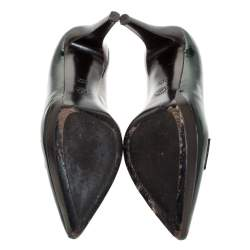 Bally Dark Green Patent Leather Pointed Toe Pumps Size 40