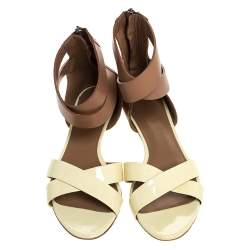Bally Cream/Brown Patent Leather And Leather Cross Strap Flat Sandals Size 39