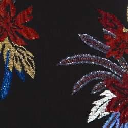 Balmain Black Floral Embellished Plunge Back Neck Power Shoulder Dress M