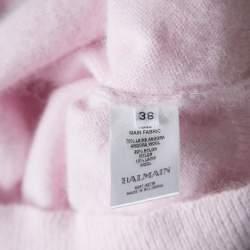 Balmain Pale Pink Wool Cropped High Neck Sweater S